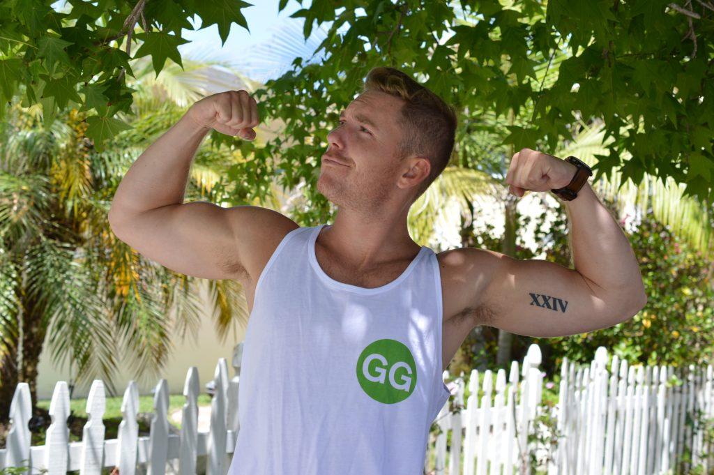 Dylan Welch wearing a Going Green shirt.